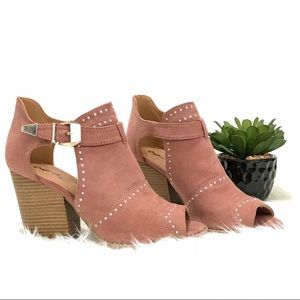 Shoes - Mauve studded ankle cut out booties